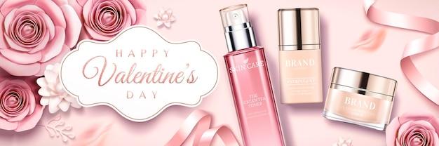 Happy valentine's day huidverzorgingsproducten banner met papieren rozen en linten, bovenaanzicht