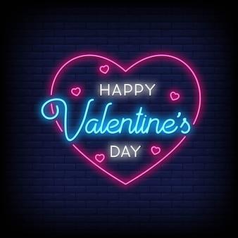 Happy valentine's day in neon stijl. happy valentine's day neonreclames. wenskaart