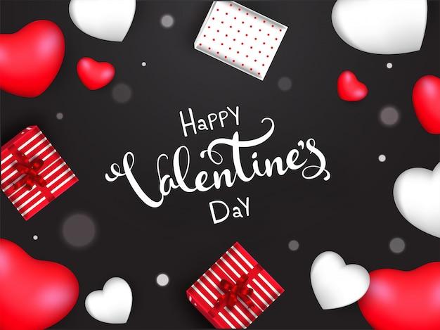 Happy valentine's day lettertype met bovenaanzicht geschenkdozen en harten versierd op zwarte achtergrond.