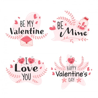Happy valentine's day message like as be mine, be my valentine, i love you font on white background.