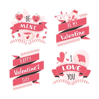 Happy valentine's day message like as be mine, be my valentine, i love you font with cartoon heart couple op white background.