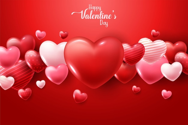Happy valentine's day met 3d harten