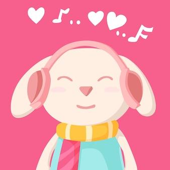 Happy valentine's day met konijn luisteren naar muziek