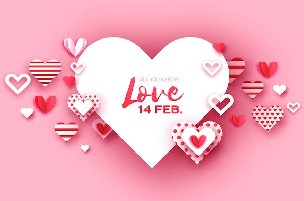 Happy valentine's day met papier gesneden hart.