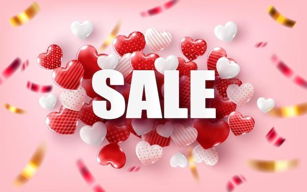 Happy valentine's day met tekst en harten ballonnen