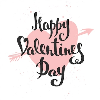 Happy valentine's day, moderne borstelkalligrafie.