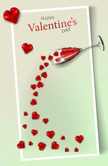 Happy valentine's day, moderne verticale banner of briefkaart voor uw ontwerp met harten
