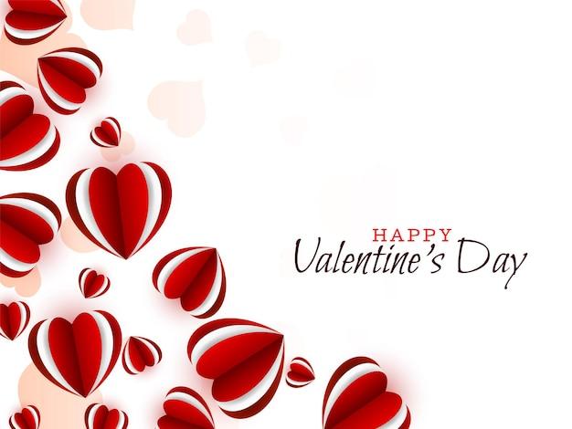 Happy valentine's day mooie rode harten achtergrond Gratis Vector