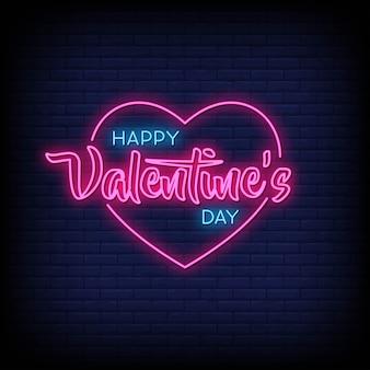 Happy valentine's day neon tekenen stijl tekst