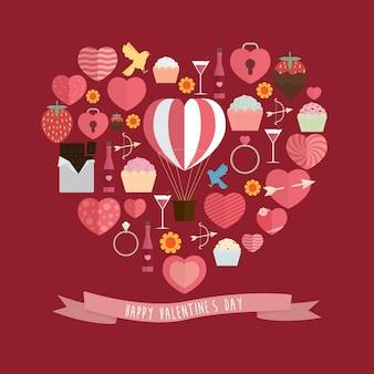 Happy valentine's day ontwerp achtergrond illustratie