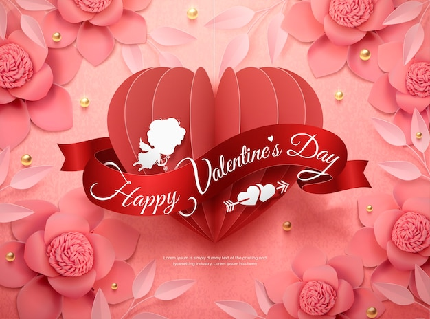 Happy valentine's day-ontwerp met roze papieren bloemen en hangend hart in 3d illustratie
