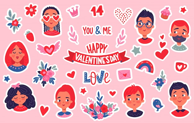 Happy valentine's day stickers set.