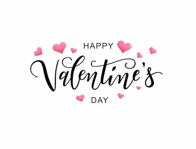 Happy valentine's day tekst, hand belettering typografie met hartjes.