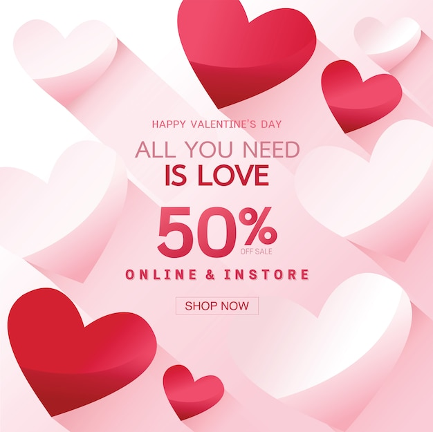 Happy valentine's day verkoop achtergrond, banner, poster of flyer