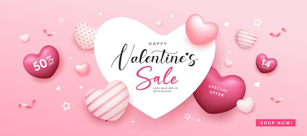 Happy valentine's day verkoop hart ruimte, ballon hart roze kleurrijke banner