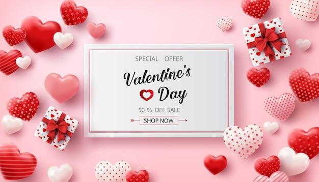 Happy valentine's day verkoop met hartjes ballonnen