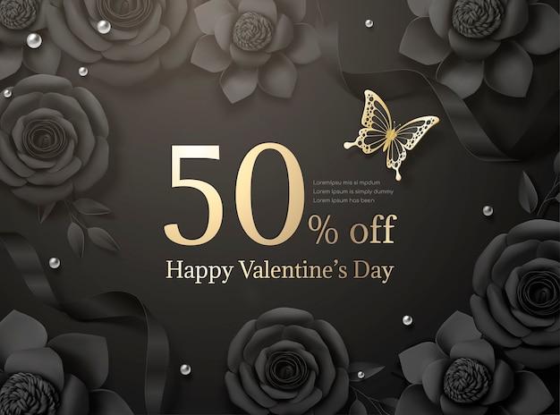 Happy valentine's day-verkoop met zwarte papieren rozen en lint in 3d illustratie