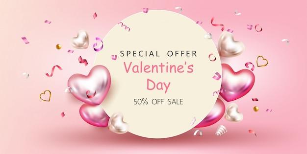 Happy valentine's day, verkoop promotie banner