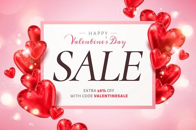 Happy valentine's day verkoopsjabloon met hartvormige ballonnen in 3d illustratie