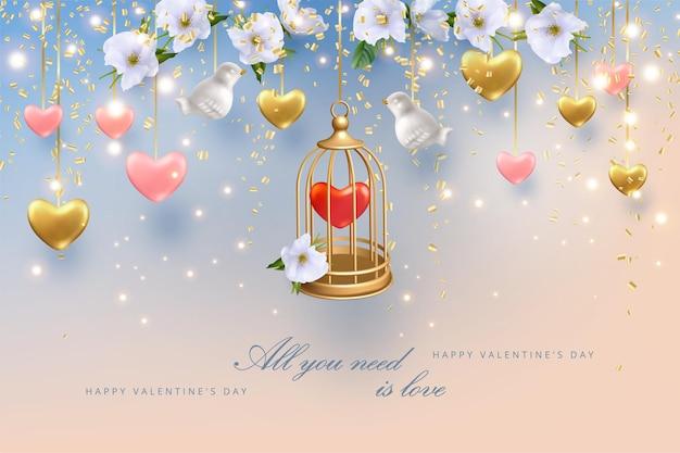 Happy valentine's day wenskaart. gouden kooi met een hart erin, bloemen en harten