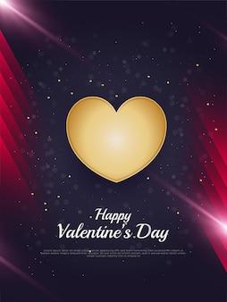 Happy valentine's day wenskaart met 3d-gouden hartjes en glitter effect op donkere achtergrond