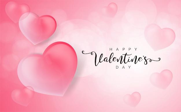 Happy valentine's day wenskaart met 3d harten.