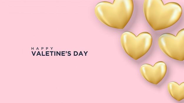 Happy valentine's day wenskaart met gouden ballonnen in hartvorm
