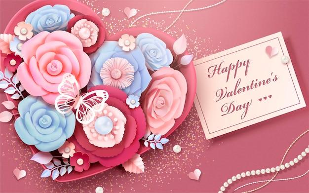 Happy valentine's day wenskaart met papieren bloemen in hartvormige geschenkdoos, 3d illustratie