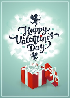 Happy valentine's day wenskaart met rode geschenkdoos en cupido in de wolken