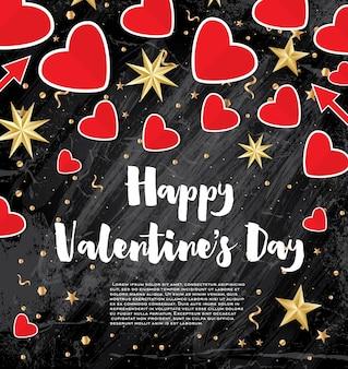 Happy valentine's day wenskaart met rode harten en gouden sterren. vectorillustratie.