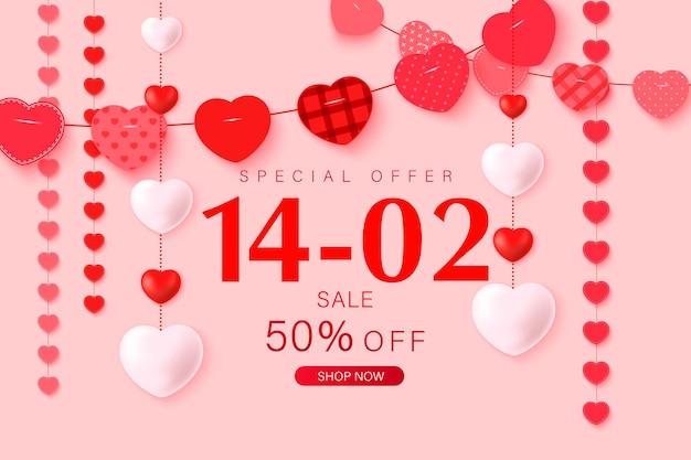 Happy valentine's day wenskaart ontwerp met frame