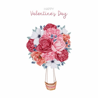 Happy valentine's day zoete kaart hand verf aquarel