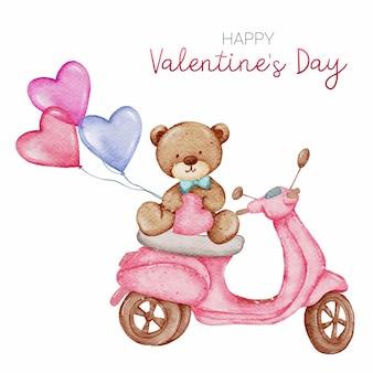 Happy valentine's day zoete kaart hand verf aquarel