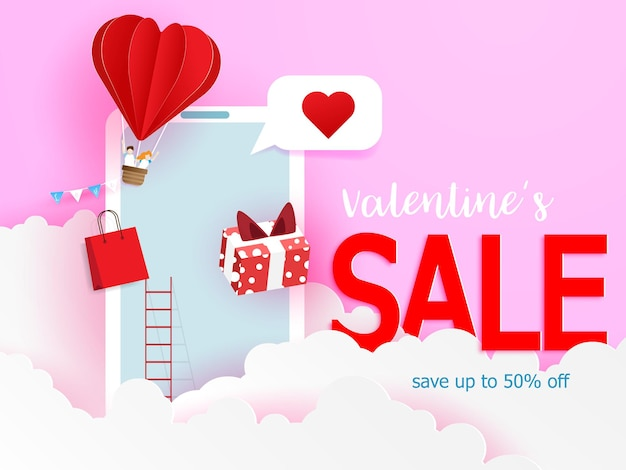 Happy valentine's sale, online winkelen met mobiele telefoon papier kunststijl illustratie