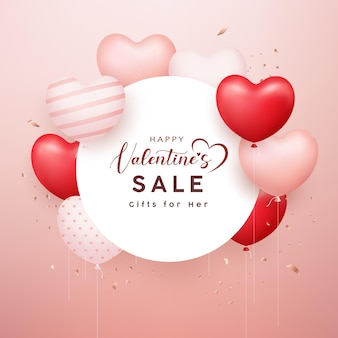 Happy valentine's sale, witboek cirkel, rood en roze ballonhart