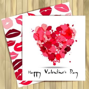 Happy valentine set kaarten bolots van het hart en naadloze patroon van de lippen op houten achtergrond