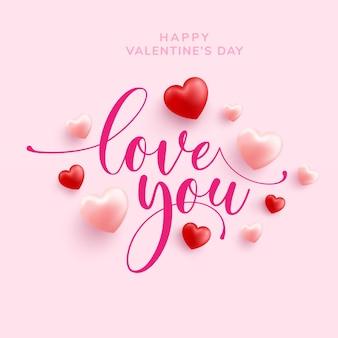 Happy valentine wenskaart met love word hand getrokken belettering en kalligrafie met rood en roze hart op roze
