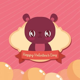 Happy valentines bear cartoon