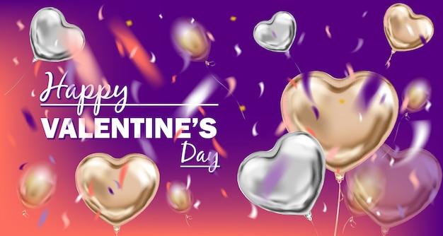 Happy valentines day afbeelding met metalen ballonnen