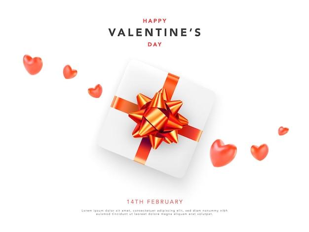 Happy valentines day banner met rode harten en cadeau