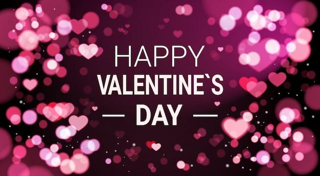 Happy valentines day banner wazig bokeh effect