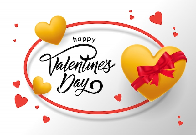 Happy valentines day belettering in ovale frame met harten