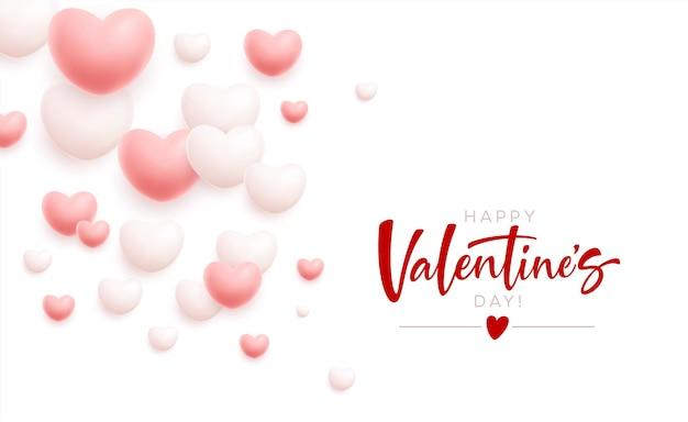Happy valentines day feestelijke achtergrond van vliegende witte en roze harten.
