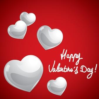 Happy valentines day, glossy sweet hearts