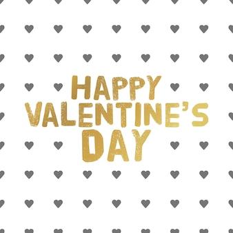 Happy valentines day gouden letters. greating kaart vectorillustratie.