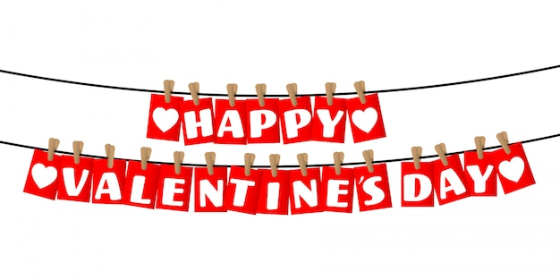 Happy valentines day greetings on red tags opknoping.