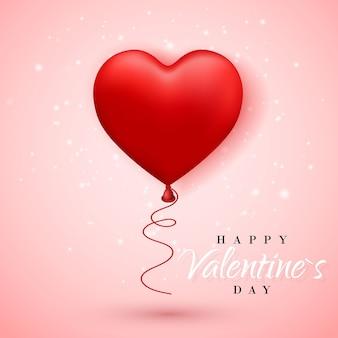 Happy valentines day, rode ballon in de vorm van een hart met lint