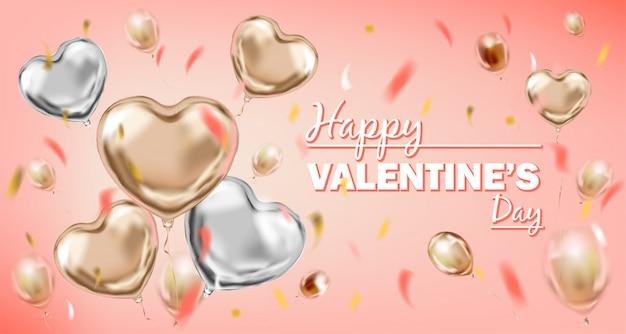 Happy valentines day roze en zilveren folie hart vorm ballonnen
