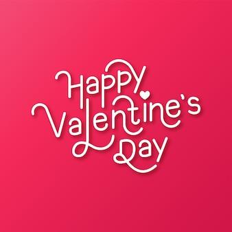 Happy valentines day typografie achtergrond Premium Vector