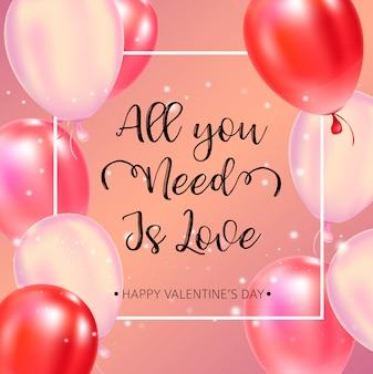 Happy valentines day typografie poster met handgeschreven kalligrafietekst.